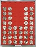 Münzbox mit 54 Vertiefungen á 25,75 mm Ø für lose Münzen (Lindner 2154) Standard (Grauer Schuber, rote Veloureinlage) + 1 Gratis-Münze von Lindner Falzlos