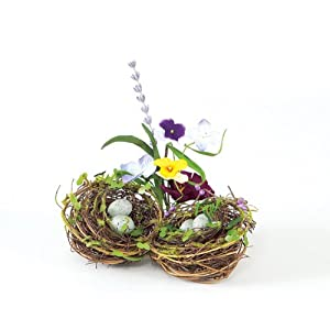 Click to buy Wedding Reception Decoration Ideas: Pansy & Lavender Joined Bird Nests with Silk Flowers & Eggs from Amazon!