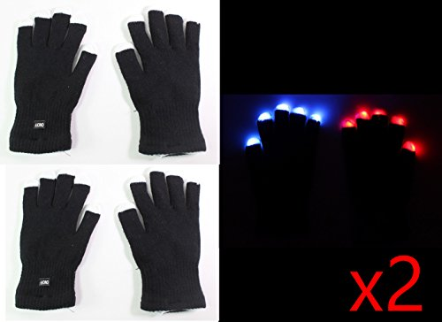 4 gloves ( 2 pair ) of 7 Mode LED Light Up Flashing Red Blue Green Glow Rave Black White Finger Gloves USA Seller ~ We Pay Your Sales Tax-Halloween Christmas Dance Party