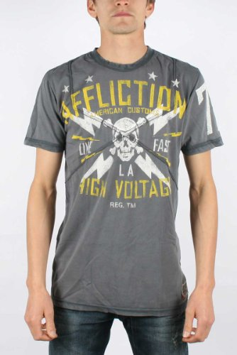 Affliction - Mens High Voltage Cro Tp T-Shirt In Black Seam Wash, Size: XX-Large, Color: Black Seam Wash