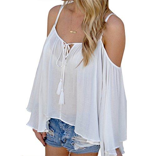 Bellezza Donna Senza Spalline Maglie a Manica Lunga Blusa Camicie Blouse Camicetta T-shirt Top