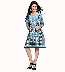 The Ethnic Chic Women's Blue Color Cotton Kurti.