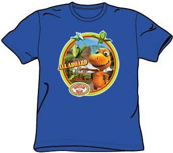 Dinosaur Train Kids Size ALL ABOARD Youth Royal Blue T-shirt