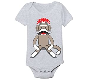 Sock Monkey Moustache - Baby One Piece - ATHLETIC HEATHER - 6 Months