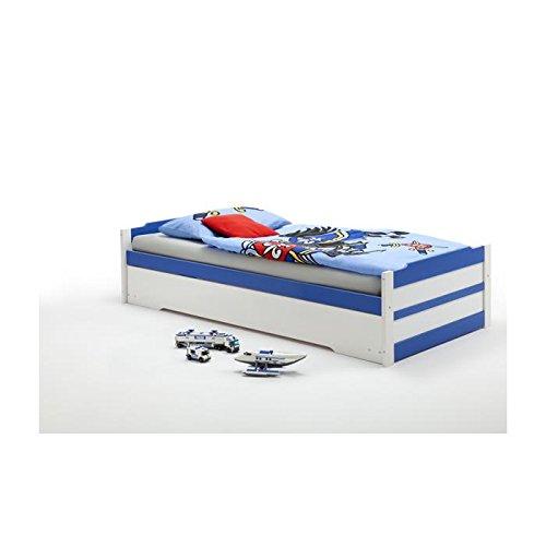 Lit gigogne lit fonctionnel tiroir-lit LORENA 90 x 200 cm lasuré blanc bleu