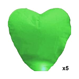 5 Pcs Green Heart-shaped Chinese Fire Sky Lanterns Fly Flying Paper Wish Wishing Lamp Balloon Lantern for Wedding Festival Xmas Christmas Party (Green)