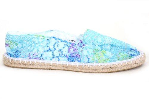 Womens Crochet Lace Espadrilles Espadrille Flat Summer Shoes Size UK 3 4 5 6 7 8