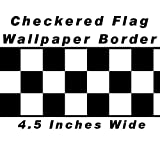 Checkered Flag Cars Nascar Wallpaper Border-4.5 Inch (Black Edge)