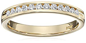 IGI Certified 14k Yellow Gold Round Diamond Channel Anniversary Ring (1/4cttw, H-I Color, SI2-I1 Clarity), Size 7