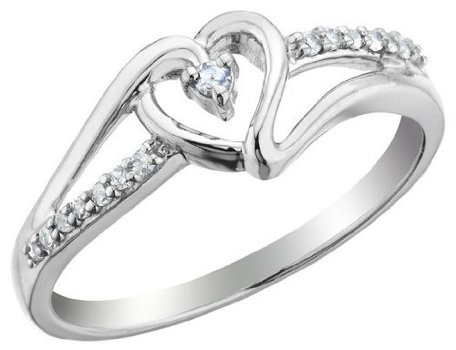 Diamond Heart Promise Ring 1/10 Carat (ctw) in Sterling Silver, Size 5