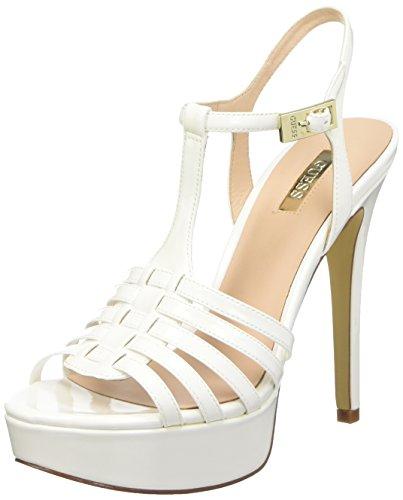 Guess Kamali Patent Pu Sandali con cinturino alla caviglia, Donna, Bianco, 37