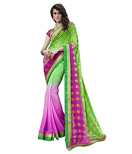 Lovely Look Latest collection of Sarees in Jacquard & Georgette Fabric & in attractive Pink & Green Color