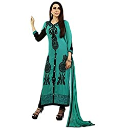 Latest Wize Straight Cut Pure Georgette Embroidered Dress Material with pure chiffon dupatta