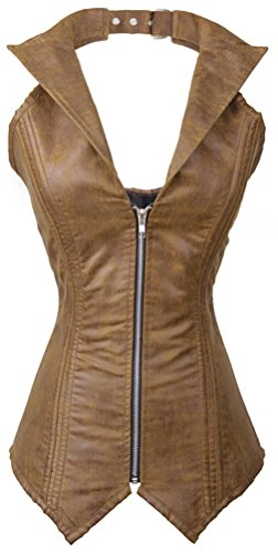 8ee3f34c528 Charmian Women s Steampunk Goth Spiral Steel Boned Halter Faux Leather Vest  Zip Top Rock Biker Corset