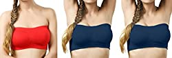 Gopalvilla Red & Nevy Blue & Nevy Blue Color Free Size None Padded Tube 3 Set Of Bra(Fit Bust Size Between 30 to 36(A & B))