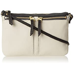 Fossil Erin Colorblock Small Top Zip Cross Body Bag,Bone,One Size