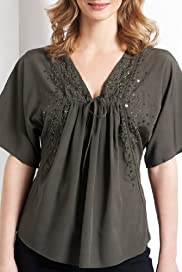 V-Neck Short Sleeve Sequin Woven Blouse [T56-2941-S]