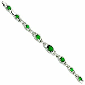 Silver-tone Crystal Green 7.5In with 1In extension Cocos Keyhole Bracelet