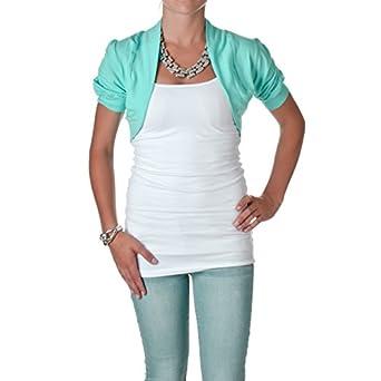 Smooth Fashion Women's Bolero Shrug Cardigan (Small, Aqua)
