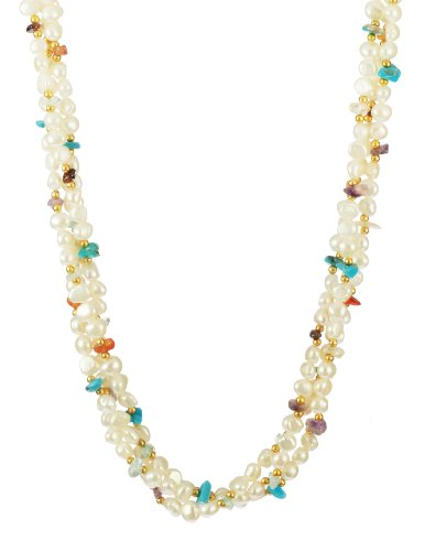 3 Row White Baroque with Multi Stone Chips and Gold Tone Beads and Clasp Necklace, 18
