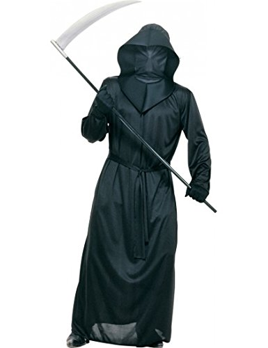 Mesh Face Black Robe Costume - Standard - Chest Size 40-44