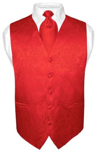 Men's Paisley Design Dress Vest NeckTie RED Color Neck Tie Set for ...