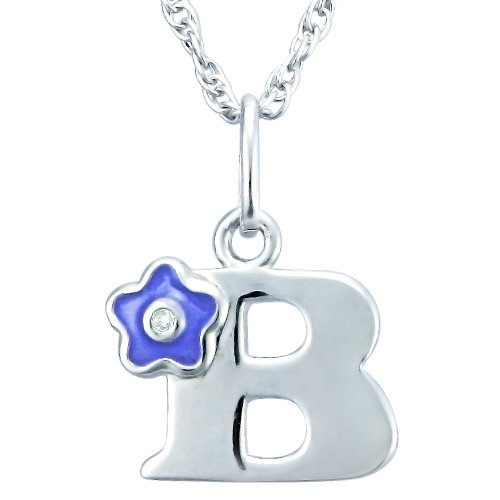 Children's Sterling Silver Enamel and Diamond-Accent Initial