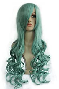 Anangelhair +Free Hair Cap 32'' 80cm Curly Japanese Anime Sailor Moon Neptune Kaioh Michiru Cosplay Wig