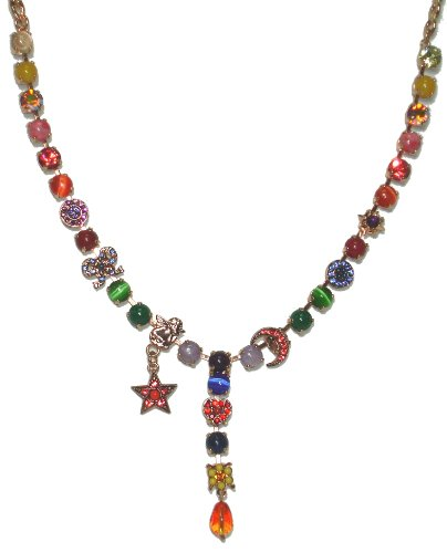 Y-Necklace with Star and Crescent Moon Charms by Israeli Amaro Jewelry Studio from 'Motion' Collection Crafted with Amethyst, Blue Abalone, Cape Amethyst, Green Jadeite, Nephrite, Lapis Lazuli, Sodalite, Red & Yellow Quartz, Swarovski Crystals