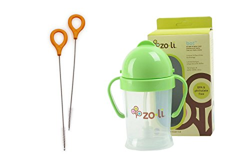Zoli Baby BOT Sippy Cup Bundle - 1 BOT Straw Sippy Cup [Green, 6 oz] + 1 BOT Straw Cleaning Brush Set [2 brushes]