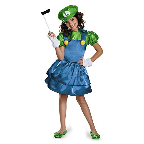 Super Mario Bros: Girls Luigi w/Skirt Costume - M (7-8)