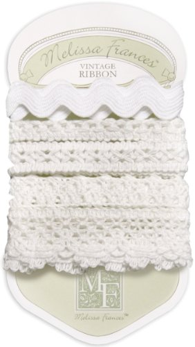 Melissa Frances 5-Style Craft Lace Trim, 18-Inch, White.