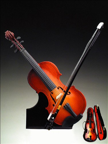 Violin Music Box w Case Stand Musical Instrument NEW