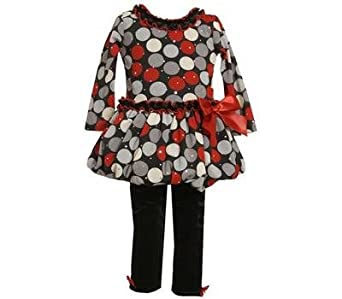 Bonnie Jean Baby Girls Dotted Mesh Bubble Holiday Dress Set w/ Leggings, Red, 2T