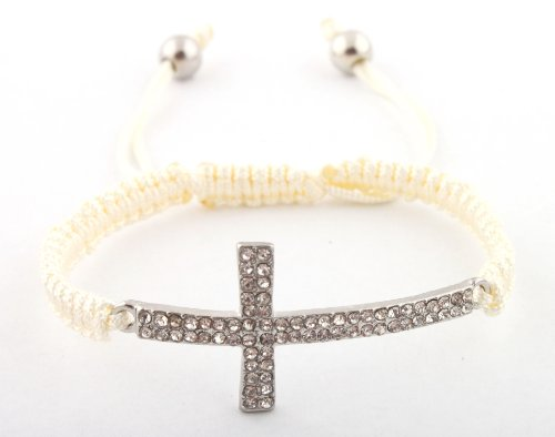 Off White with Silver Lace Style Iced Out Cross Bracelet Macrame Shamballah