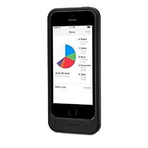 Mophie Space Pack iPhone 5s/5 Case with 32GB Extra Storage, Extra Battery Life, BLACK