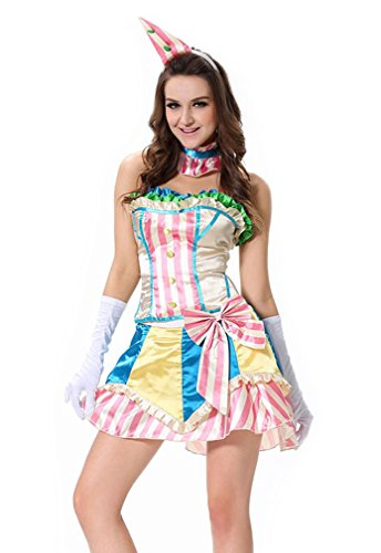 Kimring Women's Cute Colorful Vintage Circus Clown Halloween Cosplay Costume Skirt Set Multicoloured (Cute Female Clown Costumes)