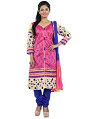 Idha Pink Straight Fit Chanderi Silk Salwar Suit For Women