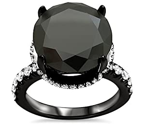 5.80ct Black Round Diamond Halo Carrie Engagement Ring 18k Black Gold Rhodium Plating Over White Gold