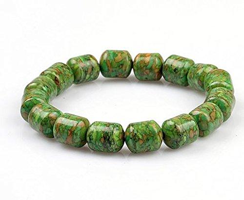 Qzoxx Natural Turquoise Bead Barrel Bracelets (green)