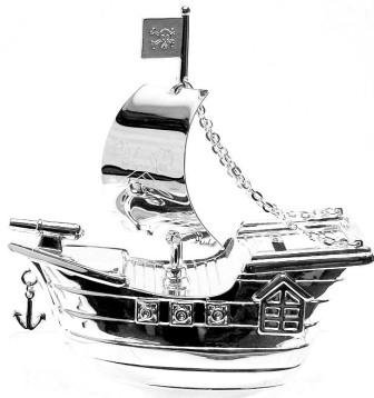 Christening Gifts. Silverplated Pirate Ship Money