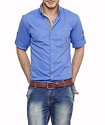 Dazzio Men's Slim Fit Cotton Casual Shirt (DZSH0903_Blue_40)