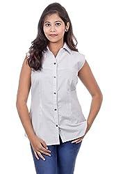 Juee Women's Striped Sleeveless Casual Top (JU104SY5SLWHT) (Small)