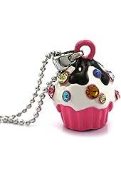 Pink Chocolate Cupcake Pendant Necklace Birthday Party Fashion Jewelry