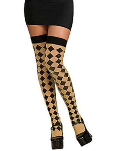 Women's Sexy Black And Gold Harlequin Checkered Thigh Highs Costume Stockings