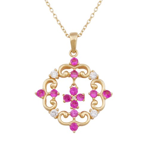 18k Yellow Gold Plated Sterling Silver Created Ruby Pendant, 18""