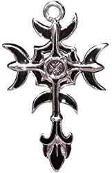 Gothic Moon Cross Charm for Wit and Wisdom Power Amulet Talisman
