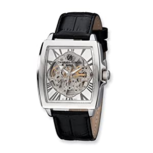 Black Strap Stnlss Stl Skeleton Dial Automatic Watch by Charles Hubert Paris Watches, Best Quality Free Gift Box Satisfaction Guaranteed