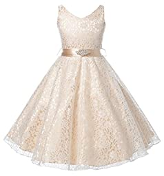 DressForLess Lovely Lace V-Neck Flower Girl Dress , CHAMPAGNE, 4