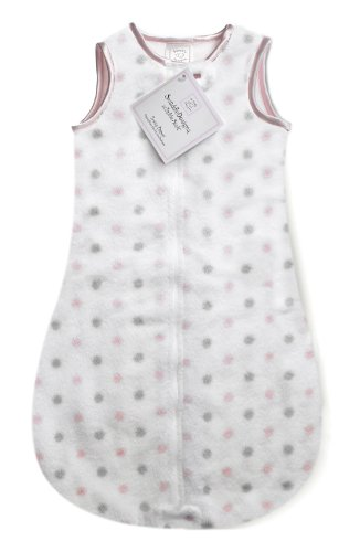 SwaddleDesigns zzZipMe Sack with 2-Way Zipper, Cozy Microplush Wearable Blanket, Sterling Little Dots, Pastel Pink 3-6 months
